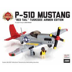 """BRICKMANIA 2089 Xếp hình kiểu Lego MILITARY ARMY P-51D Mustang – """"Red Tail"""" Tuskegee Airmen Edition P-51D Mustang Fighter-""""Red Tail"""" Tuskegee Airmen Edition Máy Bay Chiến đấu P-51D Mustang- """"Đuôi đỏ"""""""