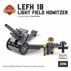 BRICKMANIA 2096 Xếp hình kiểu Lego MILITARY ARMY LeFH 18Light Field Howitzer LeFH 18 Light Field Howitzer Lựu Pháo Trường ánh Sáng LeFH 18 90 khối