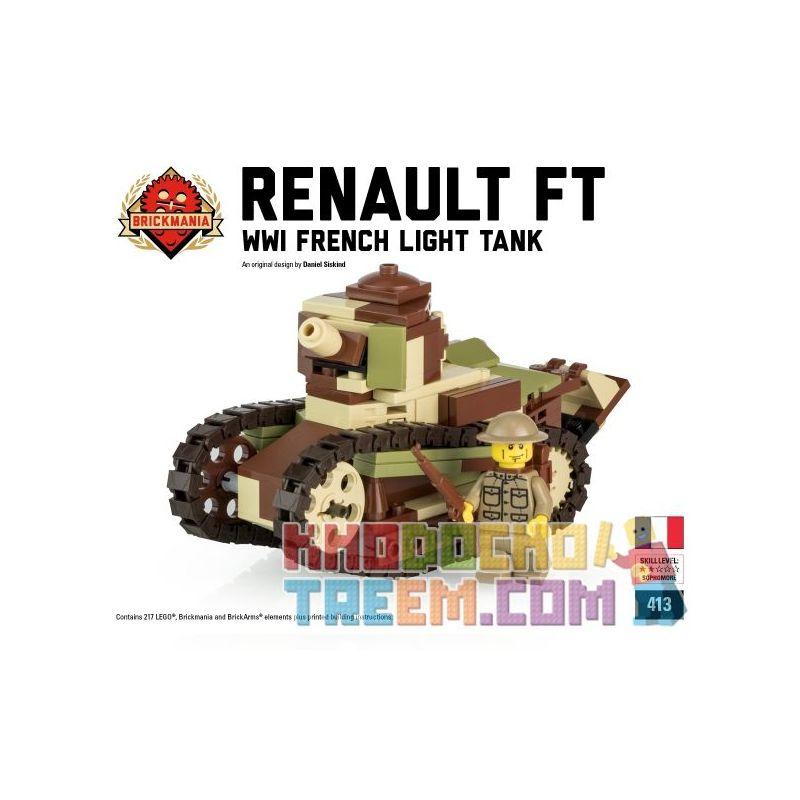 BRICKMANIA 413 Xếp hình kiểu Lego MILITARY ARMY Renault FT - French Light Tank Renault FT-17-French Light Tank Xe Tăng Hạng Nhẹ Renault FT-17-Pháp 217 khối
