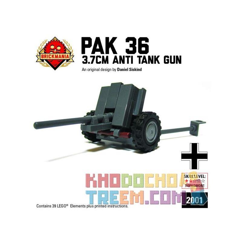 BRICKMANIA 2001 Xếp hình kiểu Lego MILITARY ARMY PaK 36 3.7cm Anti-tank Gun Súng Chống Tăng PaK 36 3,7cm 39 khối