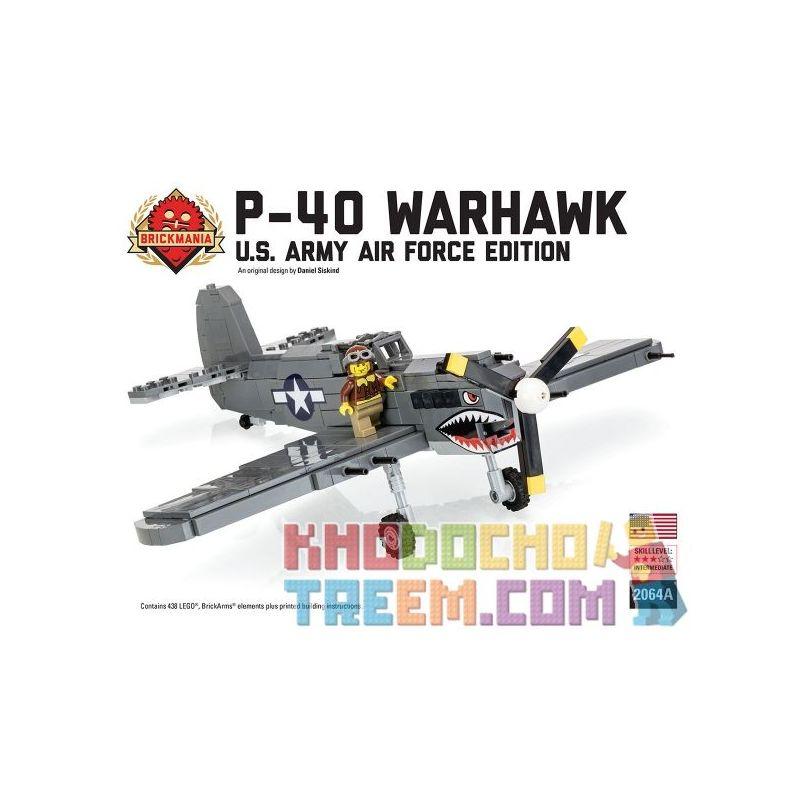 BRICKMANIA 2064A Xếp hình kiểu Lego MILITARY ARMY P-40 Warhawk - US Army Air Force Edition P-40 Warhawk Fighter-US Air Force Edition Máy Bay Chiến đấu P-40 Warhawk-Phiên Bản Không Quân Hoa Kỳ 438 khối
