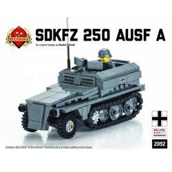 BRICKMANIA 2092 Xếp hình kiểu Lego MILITARY ARMY SdKfz 250 Ausf A With Heer Soldier SdKfz 250 Half-tracked Vehicle Type A And The Nazi German Army Xe Nửa Bánh Xích SdKfz 250 Loại A Và Quân đội Đức Quố