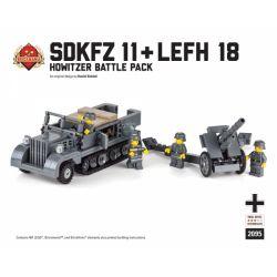 BRICKMANIA 2095 Xếp hình kiểu Lego MILITARY ARMY SdKfz 11 + LeFH Battle Pack SdKfz 11 Half Tracked Vehicle + LeFH Combat Pack Xe Nửa Bánh Xích SdKfz 11 + Gói Chiến đấu LeFH 487 khối