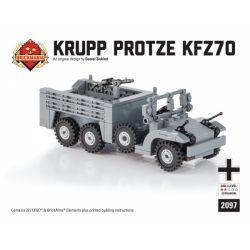 BRICKMANIA 2097 Xếp hình kiểu Lego MILITARY ARMY Krupp Protze (Kfz 70) 222 khối
