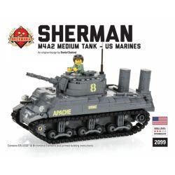 BRICKMANIA 2099 Xếp hình kiểu Lego MILITARY ARMY M4A2 Sherman (USMC) M4A2 Sherman Tank (USMC) Xe Tăng M4A2 Sherman (USMC) 575 khối