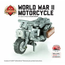 BRICKMANIA 2100 Xếp hình kiểu Lego MILITARY ARMY WWII WLA Motorcycle World War II WLA Motorcycle Xe Máy WLA Thời Thế Chiến II 37 khối
