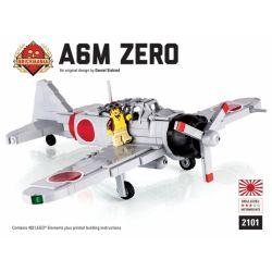 BRICKMANIA 2101 Xếp hình kiểu Lego MILITARY ARMY A6M Zero Fighter Máy Bay Chiến đấu A6M Zero 403 khối