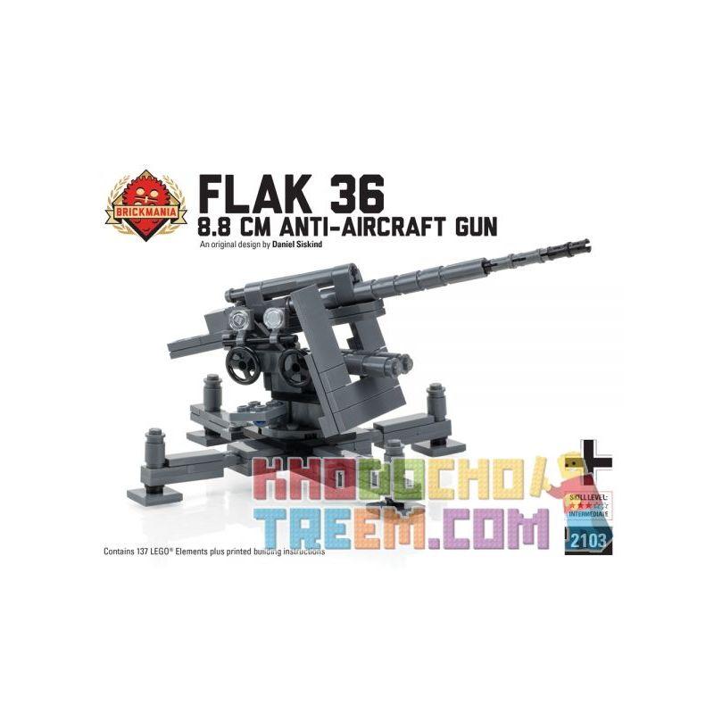 BRICKMANIA 2103 Xếp hình kiểu Lego MILITARY ARMY Flak 36 8.8 Cm Anti-Aircraft Gun Type 36 8.8mm Anti-aircraft Gun Pháo Phòng Không Type 36 8,8mm 137 khối