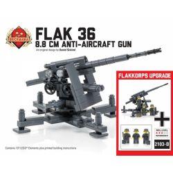 BRICKMANIA 2103BKM2103-B 2103B Xếp hình kiểu Lego MILITARY ARMY Flak 36 8.8 Cm Anti-Aircraft Gun Flakkorps Upgrade Type 36 8.8mm Anti-aircraft Gun, Anti-aircraft Upgrade Pháo Phòng Không Type 36 8,8mm
