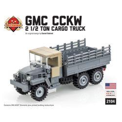 BRICKMANIA 2104 Xếp hình kiểu Lego MILITARY ARMY GMC CCKW 2 1 2 Ton Cargo Truck Xe Tải Chở Hàng GMC CCKW 2 1 2 Tấn 245 khối