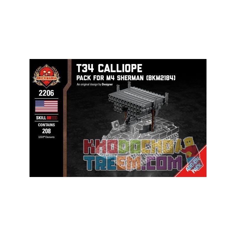 BRICKMANIA 2206 Xếp hình kiểu Lego MILITARY ARMY T34 Calliope - Pack For M4 Sherman T34 Organ Multiple Rocket Launcher-M4 Sherman Tank Booster Pack 208 khối