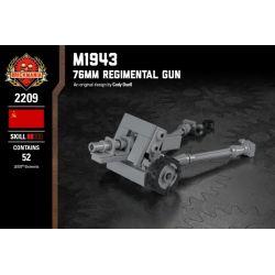 BRICKMANIA 2209 Xếp hình kiểu Lego MILITARY ARMY M1943 - 76mm Regimental Gun M1943 Type 76mm Infantry Gun M1943 Loại Súng Bộ Binh 76mm 52 khối
