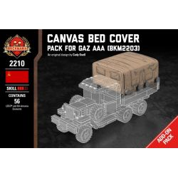 BRICKMANIA 2210 Xếp hình kiểu Lego MILITARY ARMY Canvas Bed Cover - Pack For Gaz AAA Canvas Cover-Gaz AAA Refill Pack 56 khối
