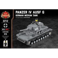 BRICKMANIA 2212 Xếp hình kiểu Lego MILITARY ARMY Panzer IV Ausf G - German Medium Tank Tank IV Type G-German Medium Tank Xe Tăng Hạng IV Loại G-Xe Tăng Hạng Trung Của Đức 616 khối