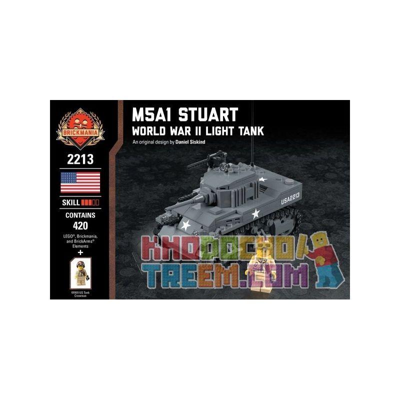 BRICKMANIA 2213 Xếp hình kiểu Lego MILITARY ARMY M5a1 Stuart - World War II Light Tank M5A1 Stuart-Xe Tăng Hạng Nhẹ Của Thế Chiến II 420 khối