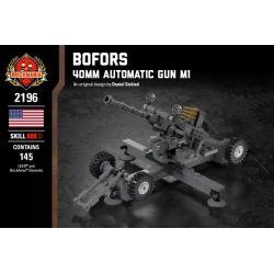 BRICKMANIA 2196 Xếp hình kiểu Lego MILITARY ARMY Bofors - 40mm Automatic Gun M1 Bofors 40mm Anti-aircraft Gun Súng Phòng Không Bofors 40mm 145 khối