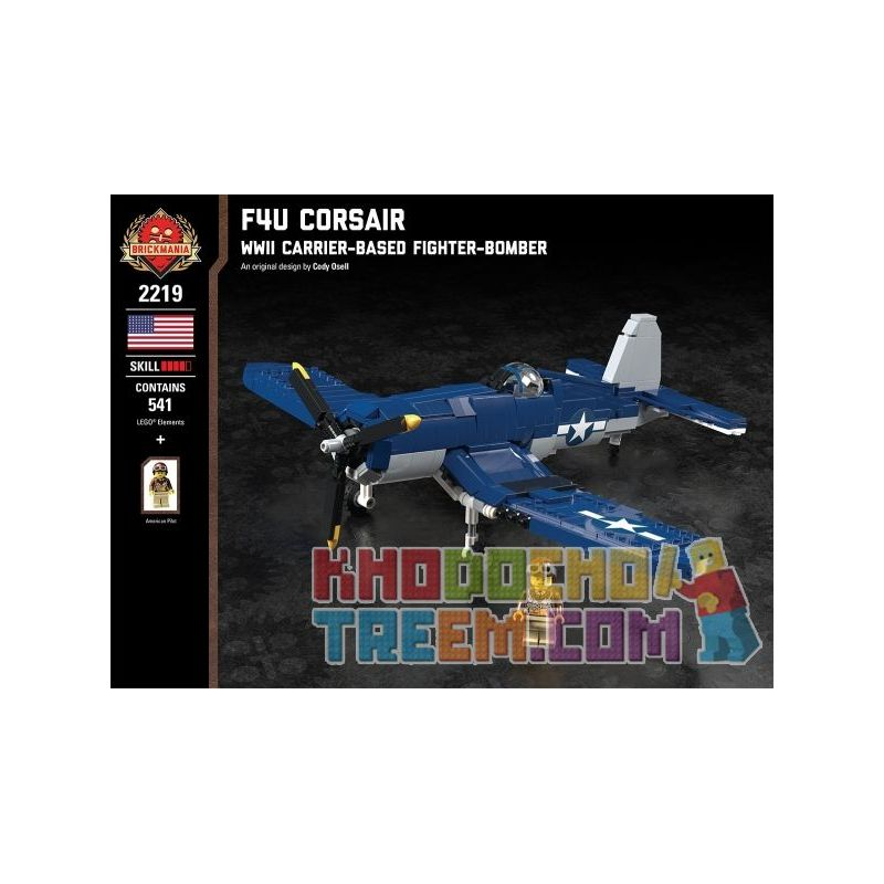 BRICKMANIA 2219 Xếp hình kiểu Lego MILITARY ARMY F4U Corsair - WWII Carrier-Based Fighter-Bomber F4U - World War II Bomb Bomber Máy Bay Ném Bom Chiến đấu Trên Tàu Sân Bay F4U-Thế Chiến II 541 khối