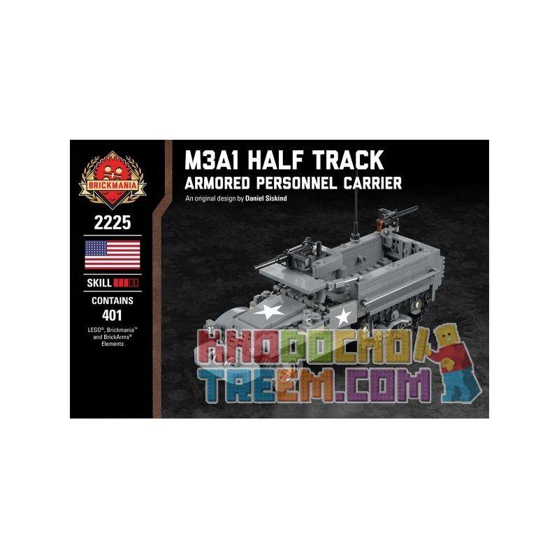 BRICKMANIA 2225 Xếp hình kiểu Lego MILITARY ARMY M3A1 Half Track - Armored Personnel Carrier M3A1 Half-stroke Vehicle Xe Nửa Bánh Xích M3A1 401 khối