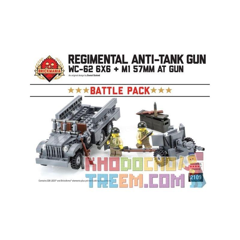 BRICKMANIA 2109 Xếp hình kiểu Lego MILITARY ARMY RegimentalAnti-tank Gun Battle Pack Infantry Anti-tank Gun Battle Bag Gói Súng Chống Tăng Bộ Binh 328 khối