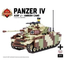 BRICKMANIA 2111 Xếp hình kiểu Lego MILITARY ARMY Panzer IV Ausf J – Ambush Camo No. 4 Tank J-type - Ambush Camouflage Kiểu Ngụy Trang Của Xe Tăng IV Loại J-Ambush 811 khối