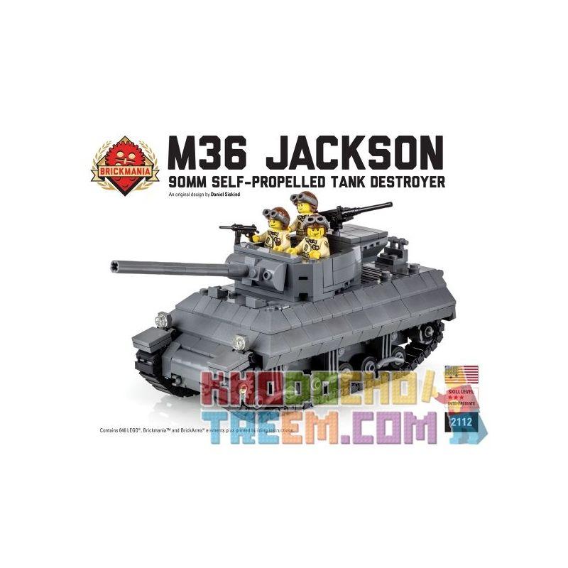 BRICKMANIA 2112 Xếp hình kiểu Lego MILITARY ARMY M36 Jackson 90mm Self-Propelled Tank Destroyer M36 Jackson 90mm Self-tank Fighter Pháo Chống Tăng Tự Hành M36 Jackson 90mm 647 khối