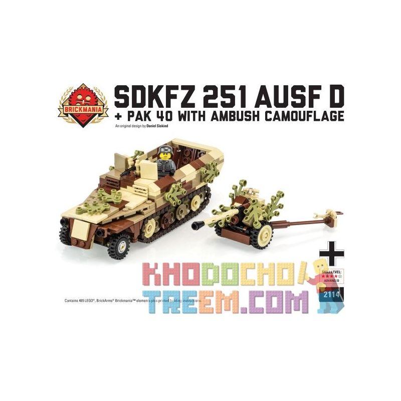 BRICKMANIA 2114 Xếp hình kiểu Lego MILITARY ARMY SdKfz 251 Ausf D & Pak 40 With AmbushCamouflage SDKFZ 251 Half-proof D-type And PAK 40 Anti-tank Ngụy Trang Phục Kích Súng Chống Tăng SdKfz 251 Loại D