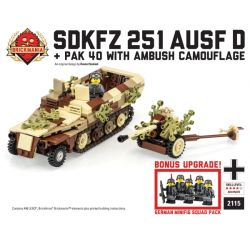BRICKMANIA 2115 Xếp hình kiểu Lego MILITARY ARMY SdKfz 251 Ausf D & Pak 40 With AmbushCamouflage + Squad Pack SDKFZ 251 Half Lucks D-Type And PAK 41 Anti-Tank Canada Available Camouflage + Pad Xe Nửa