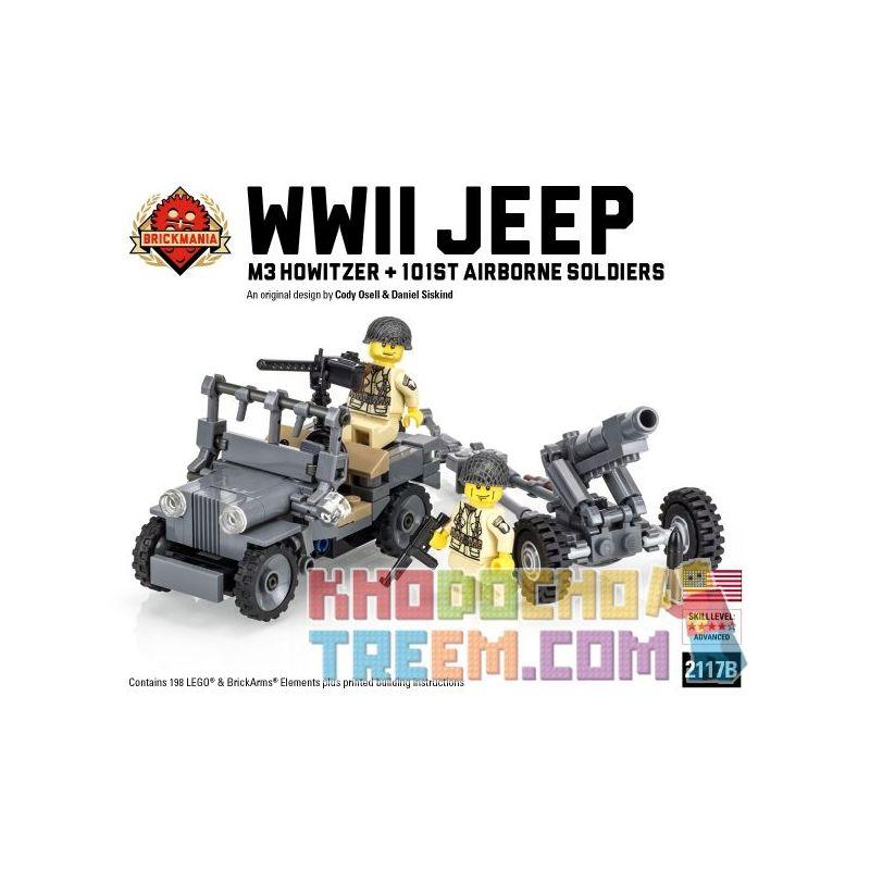 BRICKMANIA 2117B Xếp hình kiểu Lego MILITARY ARMY WW2 Jeep (2016 Edition) + US Airborne Battle Pack Twenty Gep (2016 Version) + US Military Airborne Combat Package Xe Jeep Thế Chiến II (Phiên Bản 2016