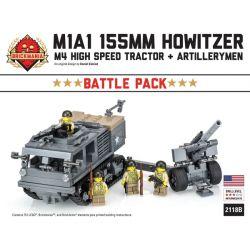 BRICKMANIA 2118B Xếp hình kiểu Lego MILITARY ARMY M1A1 155mm Howitzer + M4 High Speed Tractor Battle Pack M1A1 155MM Grenchochun + M4 High-speed Tractor Combat Package M1A1 155mm Lựu Pháo + Gói Chiến