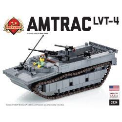 BRICKMANIA 2124 Xếp hình kiểu Lego MILITARY ARMY AMTRAC LVT-4  AMTRAC LVT-4 Track Login Cart Phương Tiện Hạ Cánh Theo Dõi AMTRAC LVT-4 677 khối