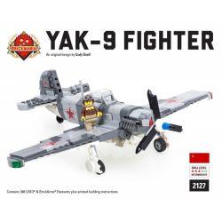 BRICKMANIA 2127 Xếp hình kiểu Lego MILITARY ARMY YAK-9 Fighter Máy Bay Chiến đấu Yak-9 388 khối