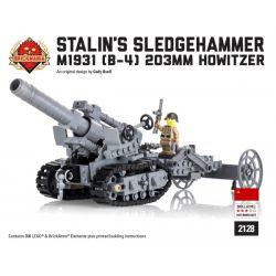 "BRICKMANIA 2128 Xếp hình kiểu Lego MILITARY ARMY ""Stalin's Sledgehammer"" - M1931 (B-4) 203mm Howitzer ""Stalin's Hammer"" - M1931 (B-4) 203mm Grenado Lựu Pháo 203mm ""Búa Của Stalin"" -M1931 (B-4) 398 khố"