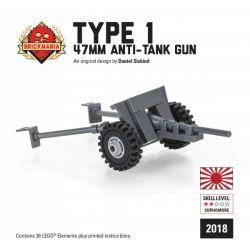 BRICKMANIA 2018-1 Xếp hình kiểu Lego MILITARY ARMY Type 1 47mm Anti-Tank Gun 1 Type 47mm Anti-tank Gun Pháo Chống Tăng Kiểu 1 47mm 36 khối
