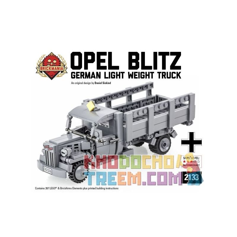BRICKMANIA 2133 Xếp hình kiểu Lego MILITARY ARMY Opel Blitz Opel Lightning Transport Vehicle Opel Lightning Transport 267 khối