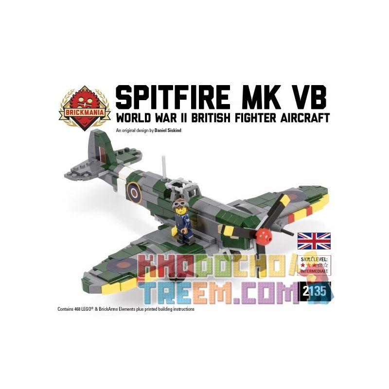 BRICKMANIA 2135 Xếp hình kiểu Lego MILITARY ARMY Spitfire Mk Vb Fire Fighter MK VB 468 khối