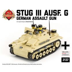 BRICKMANIA 2137 Xếp hình kiểu Lego MILITARY ARMY StuG III Ausf. G 3 Commando G Type Súng Tấn Công Số 3 Kiểu G 552 khối