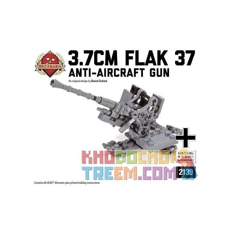 BRICKMANIA 2139 Xếp hình kiểu Lego MILITARY ARMY 3.7cm Flak 37 37-style 3.7cm Anti-air Gun Pháo Phòng Không Kiểu 37 3,7cm 64 khối