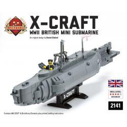 BRICKMANIA 2141 Xếp hình kiểu Lego MILITARY ARMY X-Craft British Minisub X-craft British Small Submarine Tàu Ngầm Nhỏ X-Craft Của Anh 985 khối