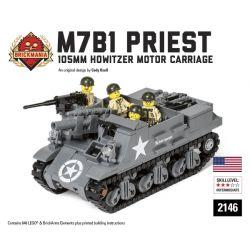 BRICKMANIA 2146 Xếp hình kiểu Lego MILITARY ARMY M7B1 Priest - 105mm Howitzer Motor Carriage M7B1 Pastor - 105mm Grenade Cannon Xe Lựu Pháo M7B1-105mm 648 khối