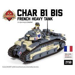 BRICKMANIA 2150 Xếp hình kiểu Lego MILITARY ARMY Char B1 Bis B1 Heavy Tank Xe Tăng Hạng Nặng B1 618 khối