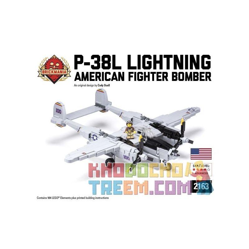 BRICKMANIA 2163 Xếp hình kiểu Lego MILITARY ARMY P-38L Lightning Fighter Máy Bay Chiến đấu Tia Chớp P-38L 904 khối