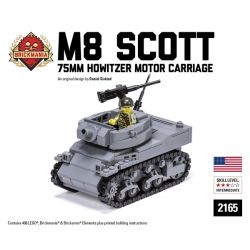 BRICKMANIA 2165 Xếp hình kiểu Lego MILITARY ARMY M8 Scott - 75mm Howitzer Motor Carriage M8 Scott - 75mm Grenade Cannon Xe Lựu Pháo M8 Scott-75mm 408 khối