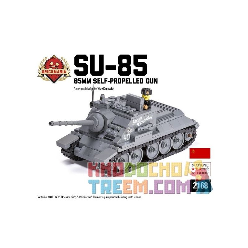 BRICKMANIA 2168 Xếp hình kiểu Lego MILITARY ARMY SU-85 85mm Self-Propelled Gun SU-85 85MM Self-organizer Pháo Tự Hành 85mm SU-85 433 khối