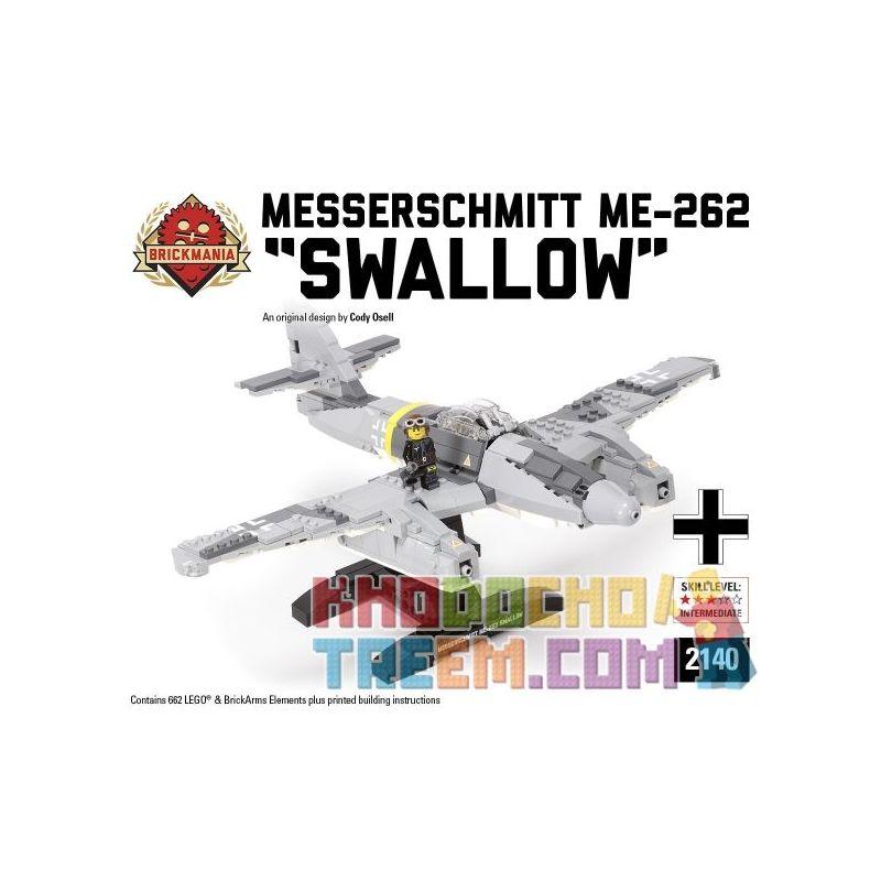 "BRICKMANIA 2140 Xếp hình kiểu Lego MILITARY ARMY Messerschmitt Me-262 Swallow MEsse Schmidt ME-262 ""Yan"" 662 khối"