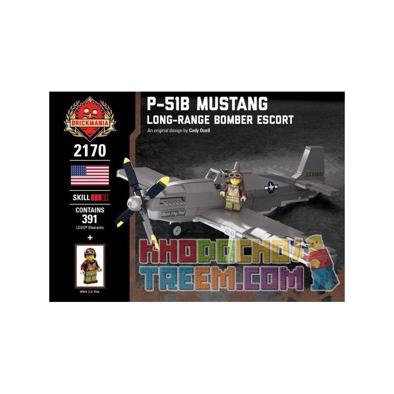 BRICKMANIA 2170 Xếp hình kiểu Lego MILITARY ARMY P-51B Mustang - Long-Range Bomber Escort P-51B Wild Horse - Long-Rout Bomber Guard Hộ Tống Máy Bay Ném Bom Tầm Xa P-51B Mustang 391 khối