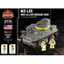 BRICKMANIA 2175 Xếp hình kiểu Lego MILITARY ARMY M3 Lee - WWII Allied Medium Tank M3 Li - World War II Xe Tăng Hạng Nhẹ M3 Lee-Allied Của Thế Chiến II 641 khối