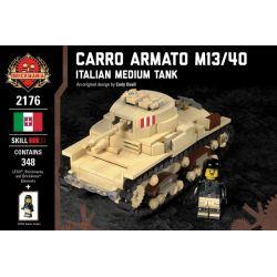 BRICKMANIA 2176 Xếp hình kiểu Lego MILITARY ARMY Carro Armato M13 40 - Italian Medium Tank Xe Tăng Hạng Trung Carro Armato M13 40-Ý 348 khối