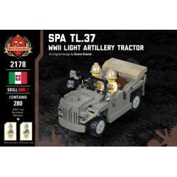 BRICKMANIA 2178 Xếp hình kiểu Lego MILITARY ARMY SPA TL.37 - WWII Light Artillery Tractor Spa TL.37 - World War II Light Artillery Traction Car Máy Kéo Pháo Hạng Nhẹ SPA TL.37-WWII 280 khối