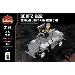 BRICKMANIA 2180 Xếp hình kiểu Lego MILITARY ARMY Sdkfz 222 - German Light Armored Car SDKFZ 222 - German Light Armored Vehicles Sdkfz 222-Xe Bọc Thép Hạng Nhẹ Của Đức 194 khối