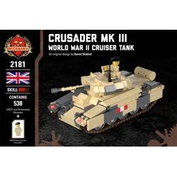 BRICKMANIA 2181 Xếp hình kiểu Lego MILITARY ARMY Crusader Mk III - World War II Cruiser Tank Crusader Tank MK III - Crubling Tank Crusader Tank Mk III-Xe Tăng Hành Trình Trong Thế Chiến II 538 khối